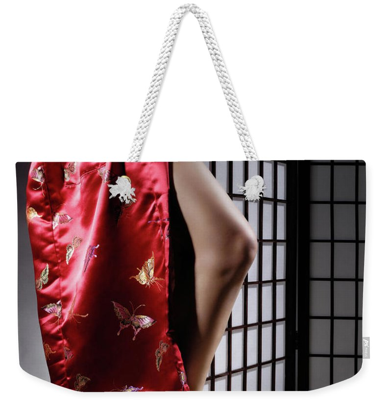 Asian Weekender Tote Bag featuring the photograph Asian Woman In Red Kimono by Maxim Images Prints