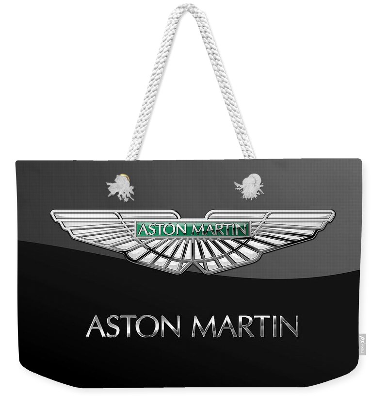 'wheels Of Fortune� Collection By Serge Averbukh Weekender Tote Bag featuring the photograph Aston Martin 3 D Badge on Black by Serge Averbukh