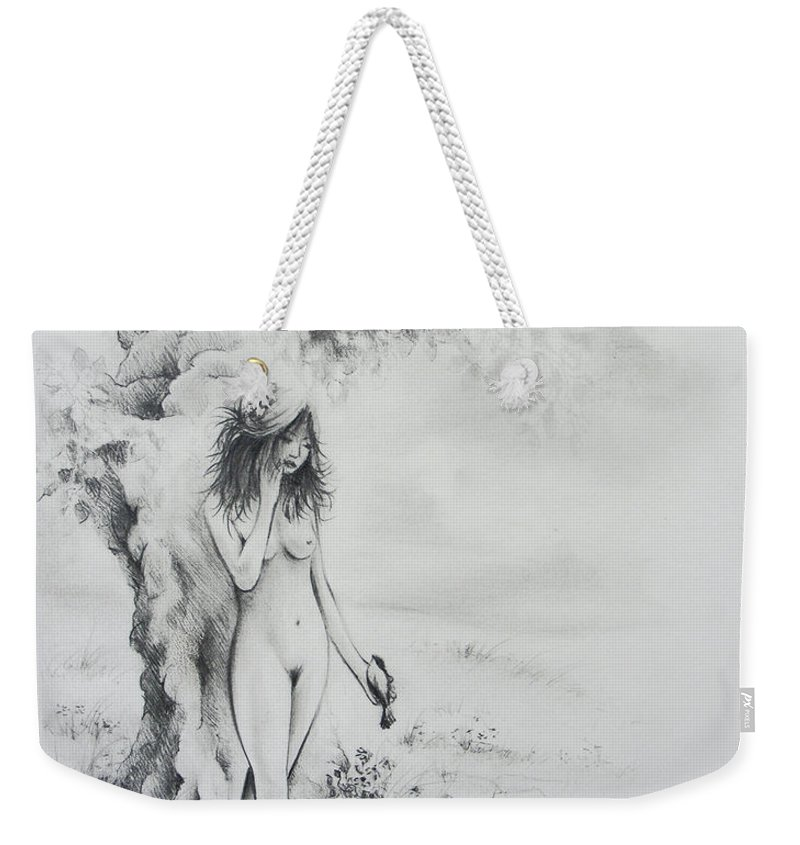 Figure Weekender Tote Bag featuring the drawing At The Waters Edge by Rachel Christine Nowicki