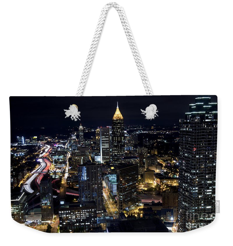 Skyline Weekender Tote Bag featuring the photograph Atlanta Georgia - Evening Commute by Anthony Totah