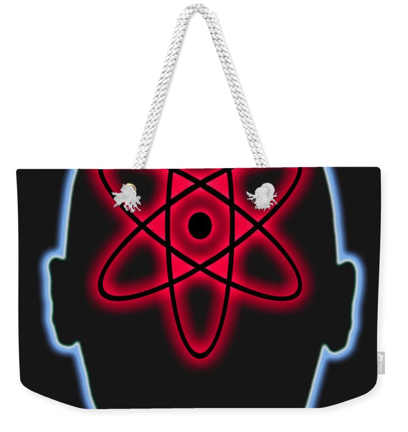 Nuclear Energy Weekender Tote Bag featuring the photograph Atom Diagram by George Mattei