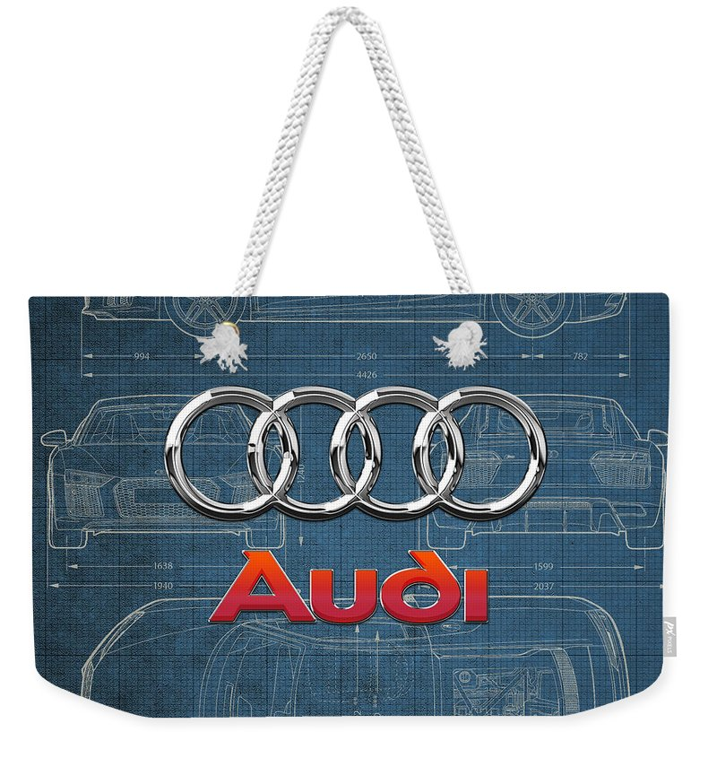 �wheels Of Fortune� Collection By Serge Averbukh Weekender Tote Bag featuring the photograph Audi 3 D Badge Over 2016 Audi R 8 Blueprint by Serge Averbukh