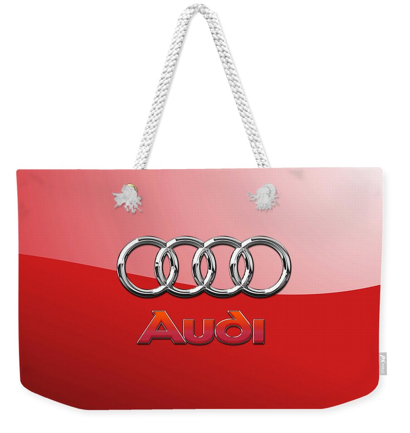 Wheels Of Fortune By Serge Averbukh Weekender Tote Bag featuring the photograph Audi - 3d Badge On Red by Serge Averbukh