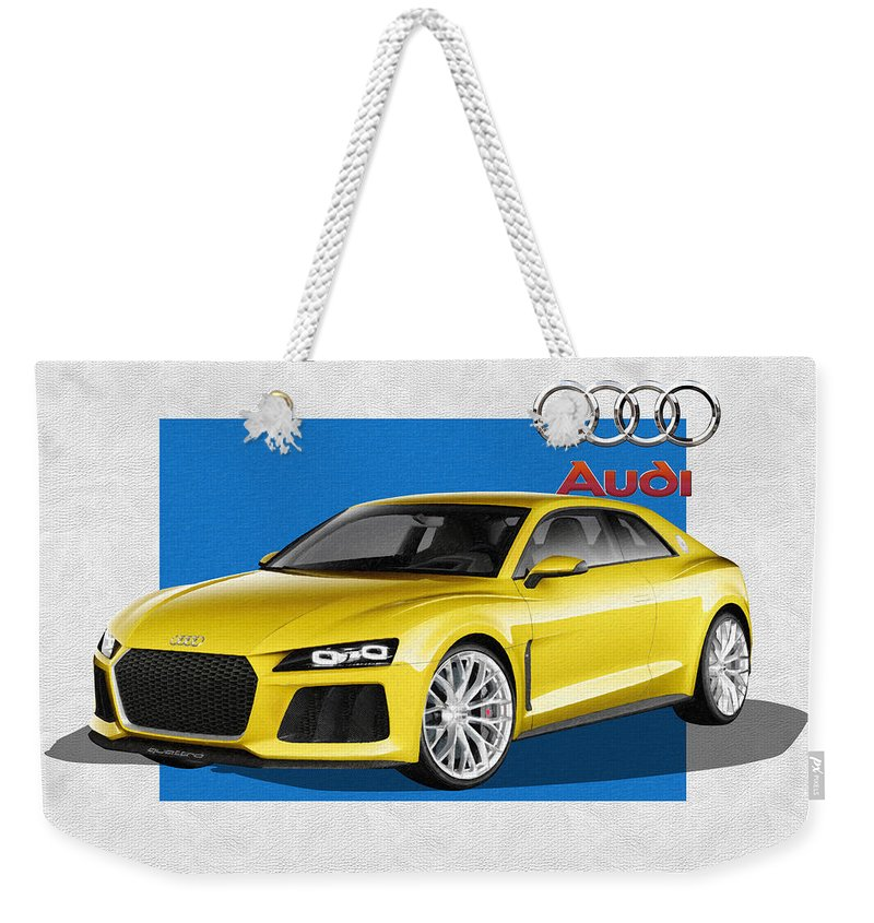 �audi� Collection By Serge Averbukh Weekender Tote Bag featuring the photograph Audi Sport Quattro Concept With 3 D Badge by Serge Averbukh