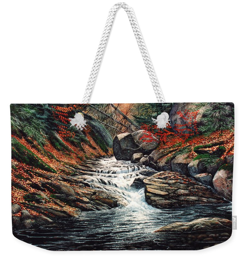 Landscape Weekender Tote Bag featuring the painting Autumn Brook by Frank Wilson