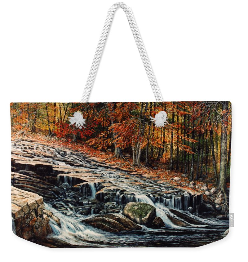 Landscape Weekender Tote Bag featuring the painting Autumn Cascade by Frank Wilson