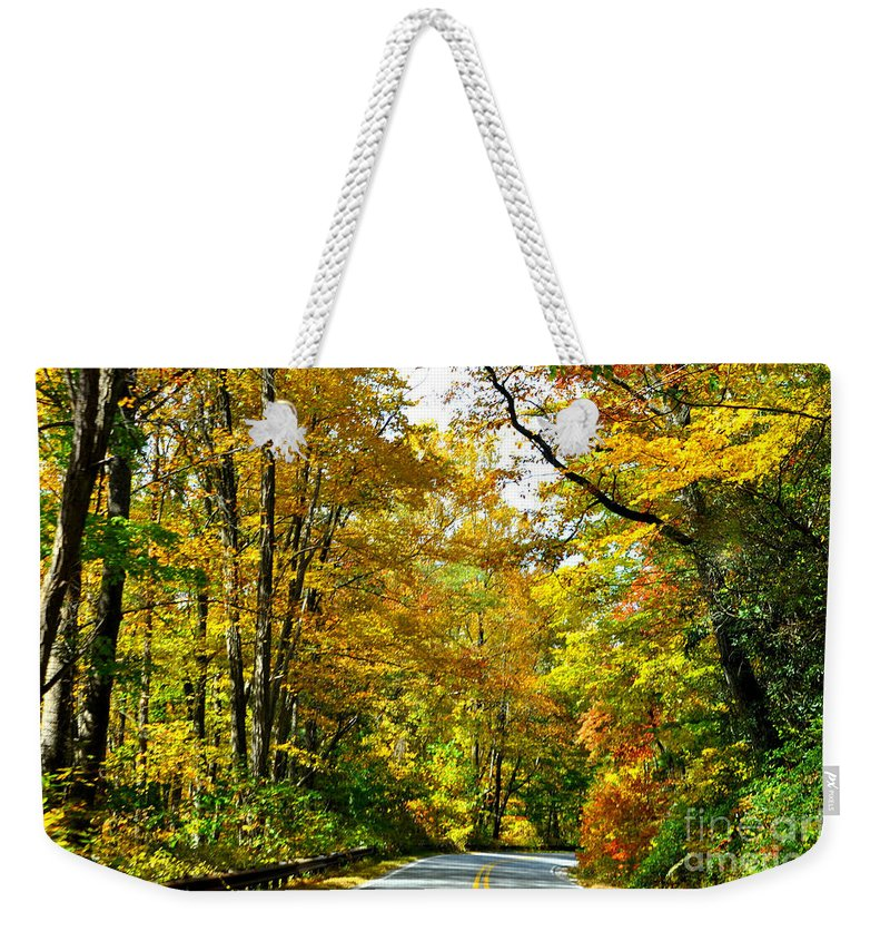 Leaves Weekender Tote Bag featuring the photograph Autumn Drive No.2 by Lydia Holly