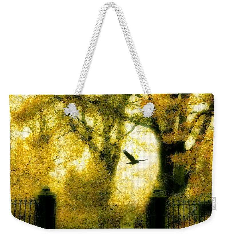 Yellow Weekender Tote Bag featuring the photograph Autumn Graveyard by Gothicrow Images
