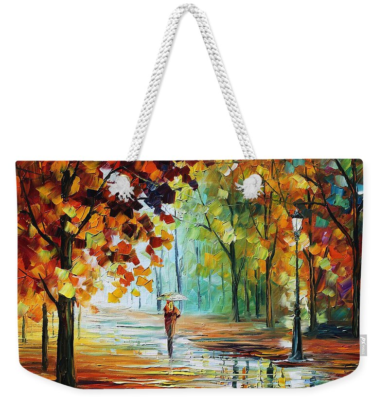 Afremov Weekender Tote Bag featuring the painting Autumn by Leonid Afremov