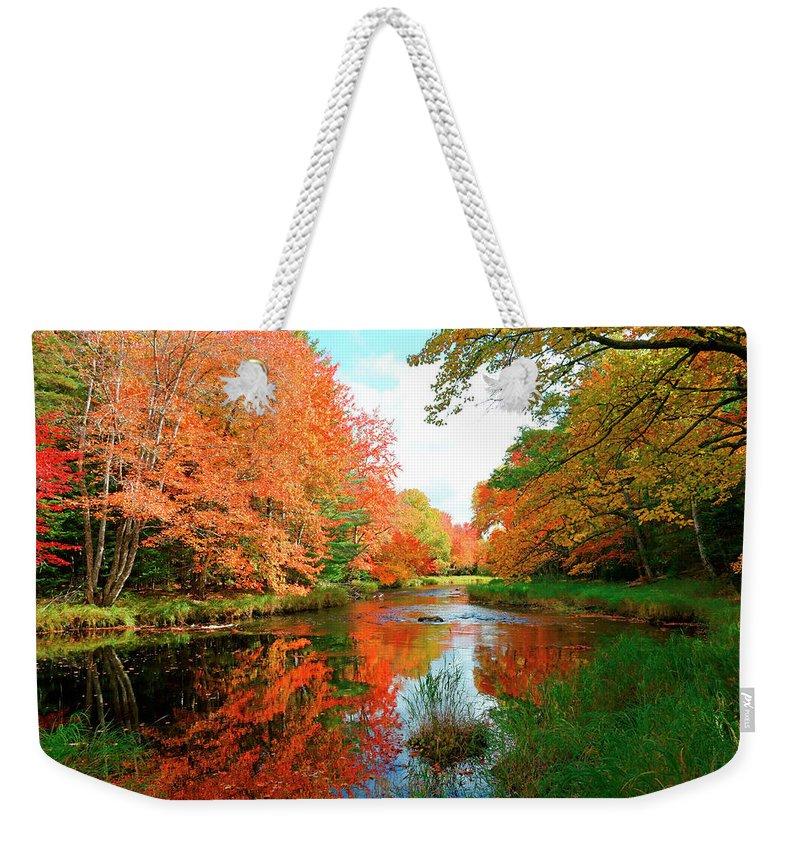 Autumn Weekender Tote Bag featuring the photograph Autumn On The Mersey River, Kejimkujik National Park, Nova Scotia, Canada by Gary Corbett