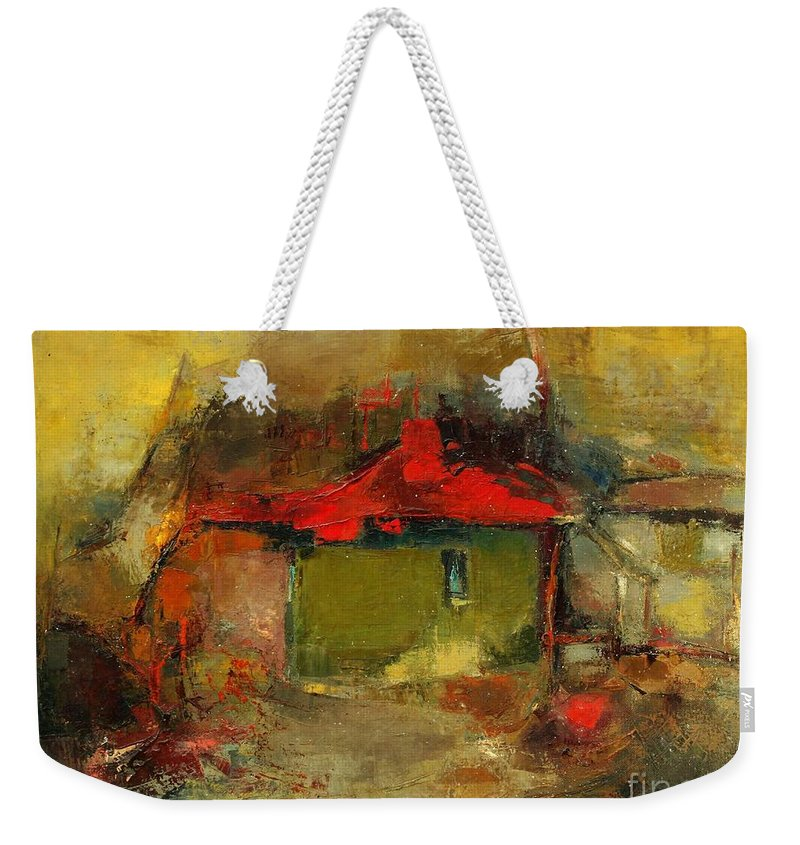 Landscape Weekender Tote Bag featuring the painting Autumn Rhapsody by Pemaro