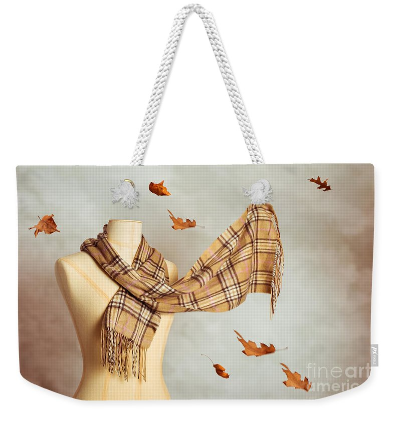 Fashion Weekender Tote Bag featuring the photograph Autumn Scarf by Amanda Elwell