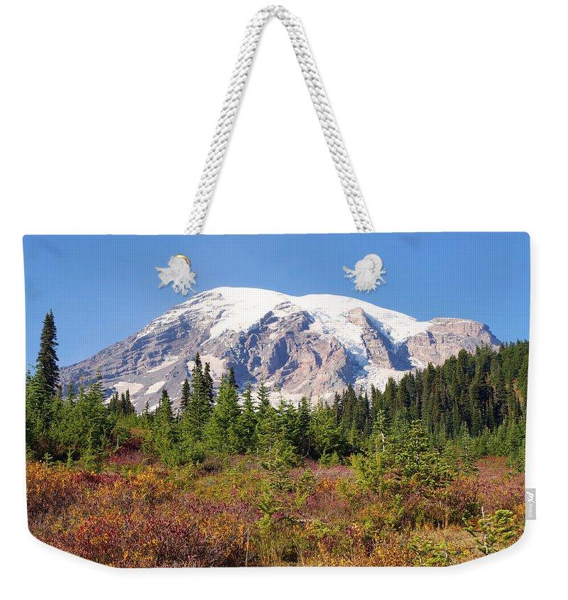Landscape Weekender Tote Bag featuring the photograph Fall Splendor by Emerita Wheeling