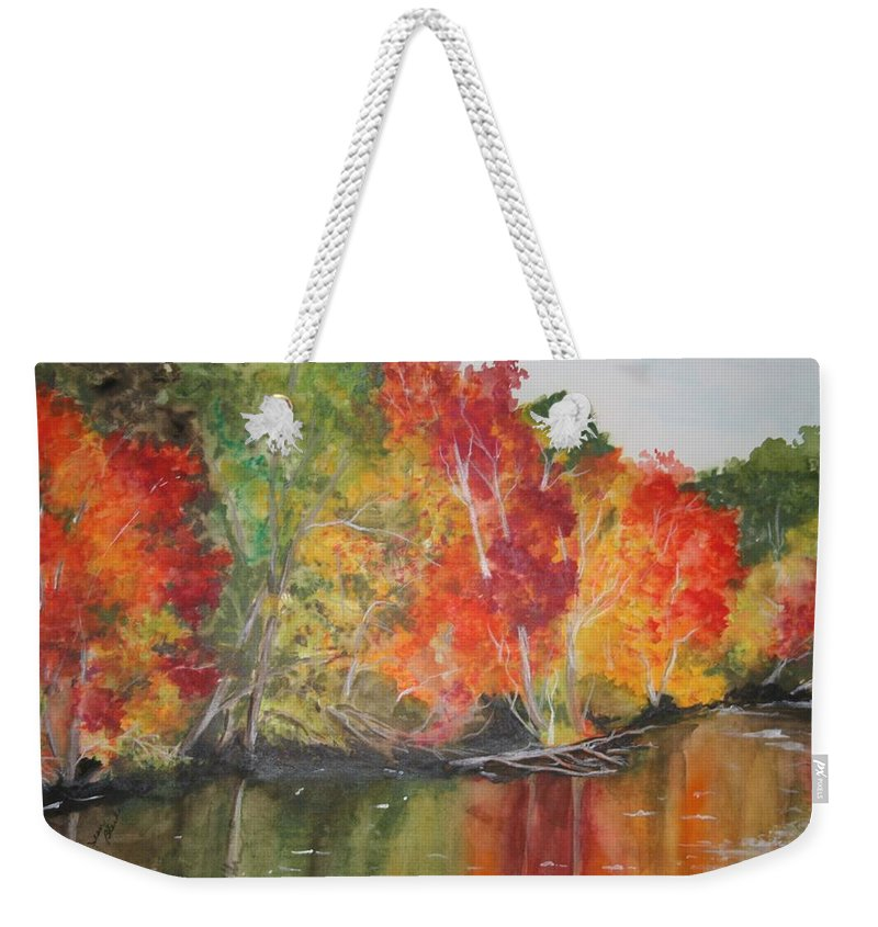 Autumn Weekender Tote Bag featuring the painting Autumn Splendor by Jean Blackmer