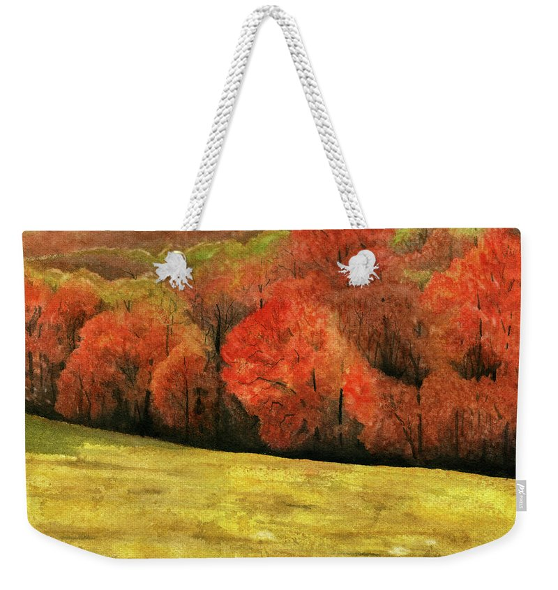 Autumn Weekender Tote Bag featuring the painting Autumn Splendor by Mary Tuomi