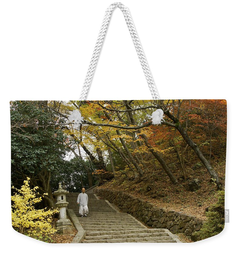 Asia Weekender Tote Bag featuring the photograph Autumn Stairway by Michele Burgess