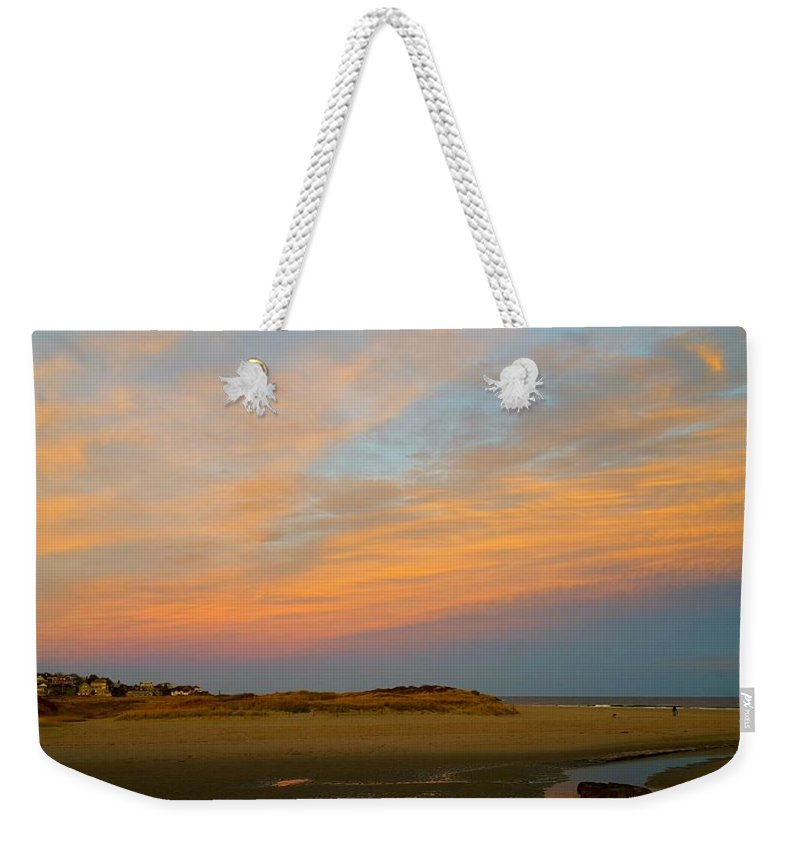 Swath Of Yellow Weekender Tote Bag featuring the photograph Autumn Sunset At Good Harbor by Harriet Harding