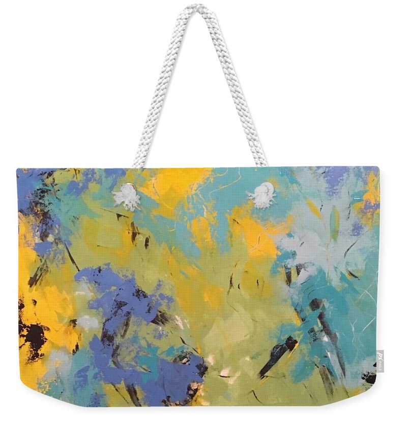 Awaken The Soul Is An Original 36 X 36 Acrylic Abstract Painted On A Gallery Canvas. The Edges Are Painted To Coordinate With The Outer Edges Of The Painting Weekender Tote Bag featuring the painting Awaken The Soul by Suzzanna Frank