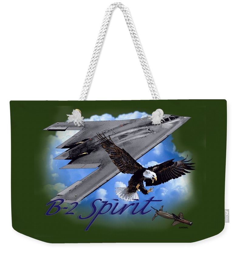 Canvas Prints Weekender Tote Bag featuring the drawing B-2 Spirit by Joseph Juvenal