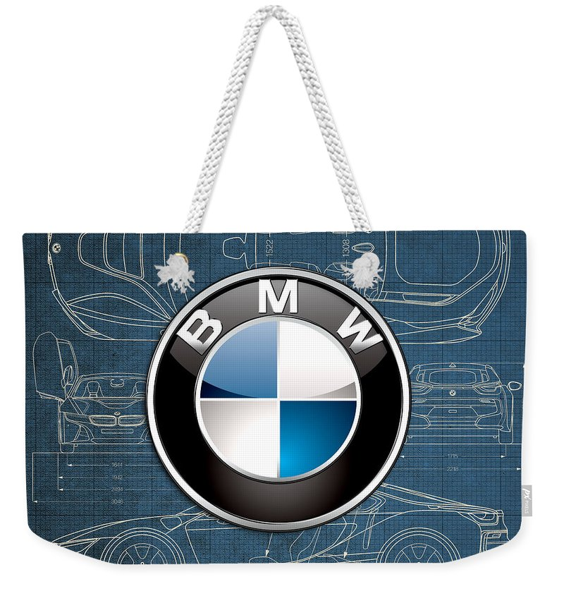 �wheels Of Fortune� By Serge Averbukh Weekender Tote Bag featuring the photograph B M W 3 D Badge over B M W i8 Blueprint by Serge Averbukh