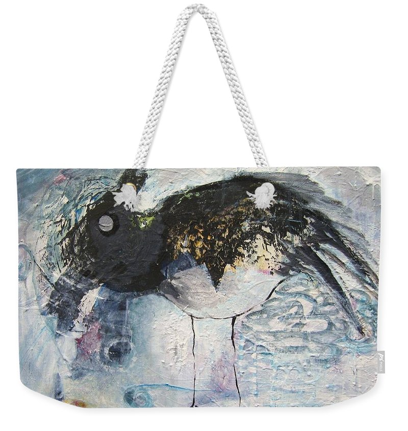 Robin Painting Weekender Tote Bag featuring the painting Baby Robin by Seon-Jeong Kim