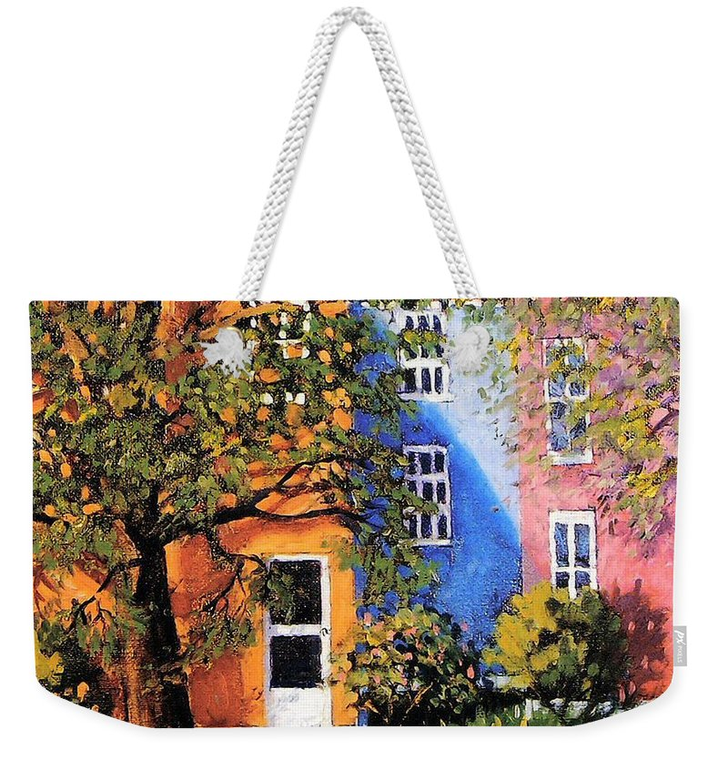 Scenic Weekender Tote Bag featuring the painting Backyard by Jonathan Carter