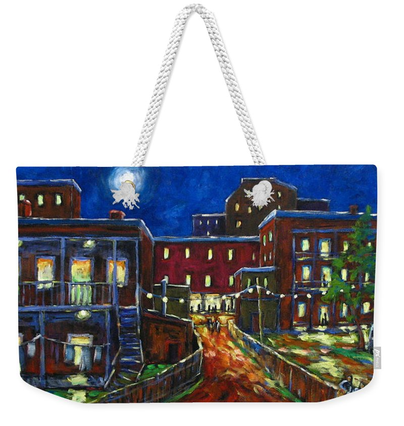 Town Weekender Tote Bag featuring the painting Balconville by Richard T Pranke