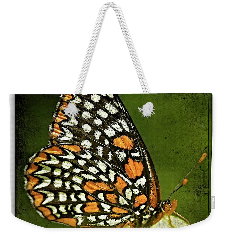 Butterflies Weekender Tote Bag featuring the photograph Baltimore Checkerspot by Ingrid Smith-Johnsen