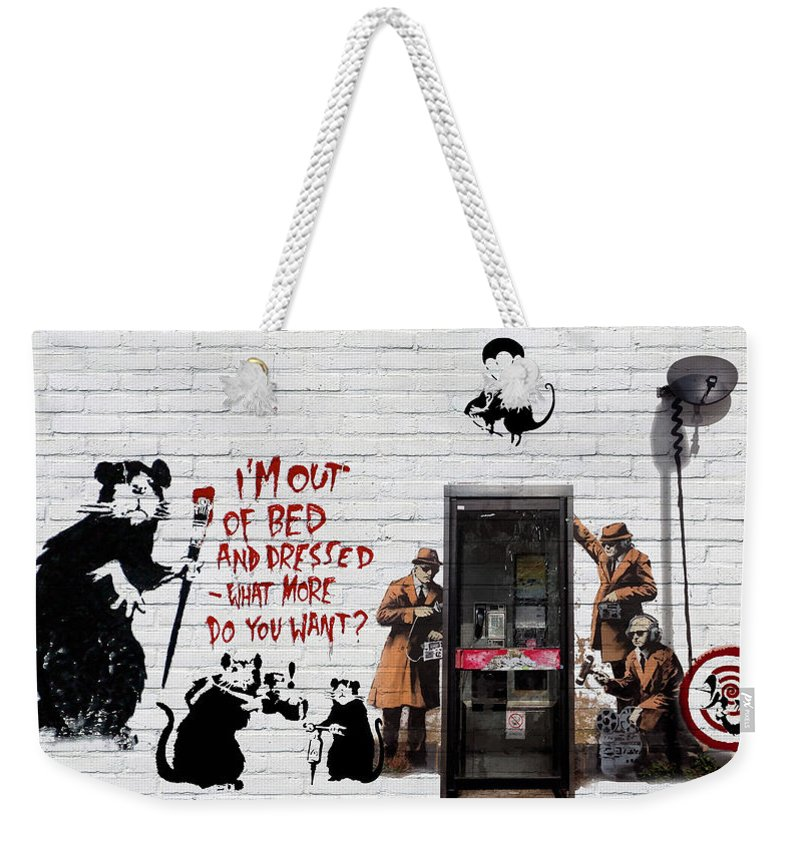 �urban Graffiti� Collection By Serge Averbukh Weekender Tote Bag featuring the photograph Banksy - The Tribute - Rats by Serge Averbukh