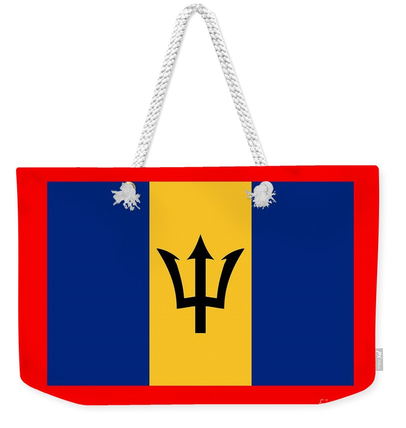 Banner Weekender Tote Bag featuring the digital art Barbados Flag by Frederick Holiday