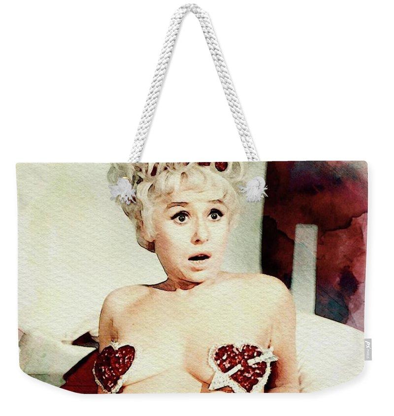 Barbara Weekender Tote Bag featuring the digital art Barbara Windsor, Carry On Actress by John Springfield