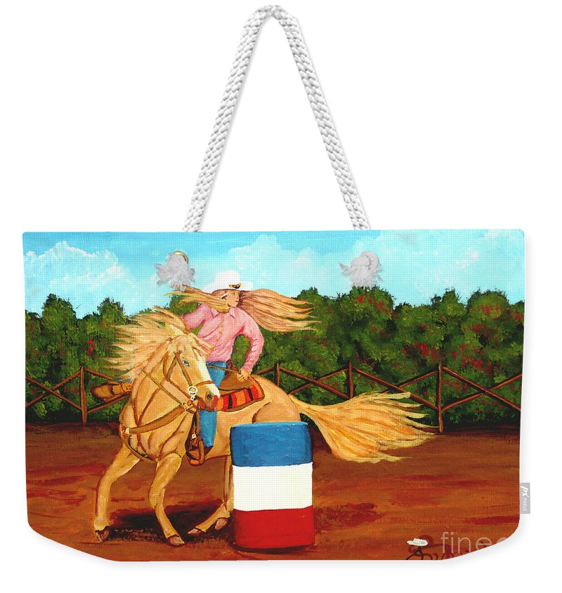 Rodeo Weekender Tote Bag featuring the painting Barrel Racer by Anthony Dunphy