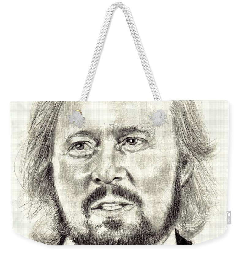 Barry Gibb Weekender Tote Bag featuring the drawing Barry Gibb Portrait by Suzann Sines