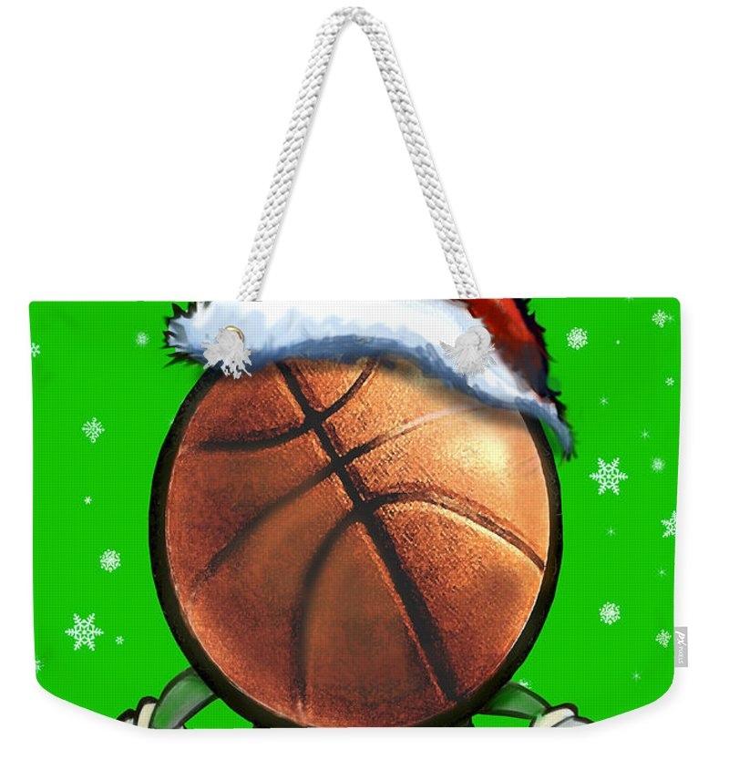 Basketball Weekender Tote Bag featuring the digital art Basketball Christmas by Kevin Middleton