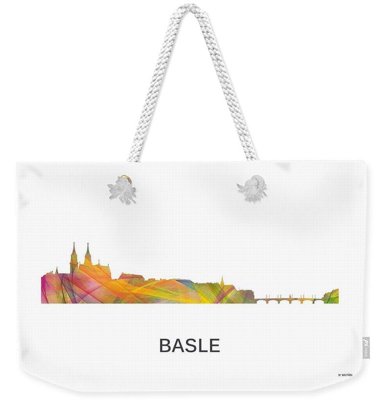 Basle Switzerland Skyline Weekender Tote Bag featuring the digital art Basle Switzerland Skyline by Marlene Watson