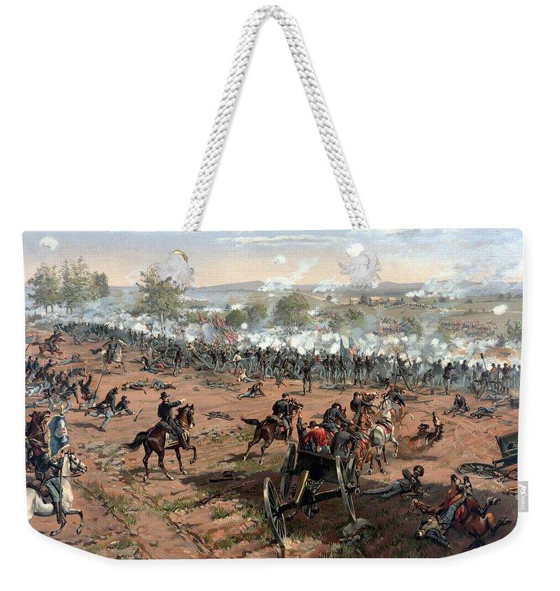 Civil War Weekender Tote Bag featuring the painting Battle Of Gettysburg by War Is Hell Store