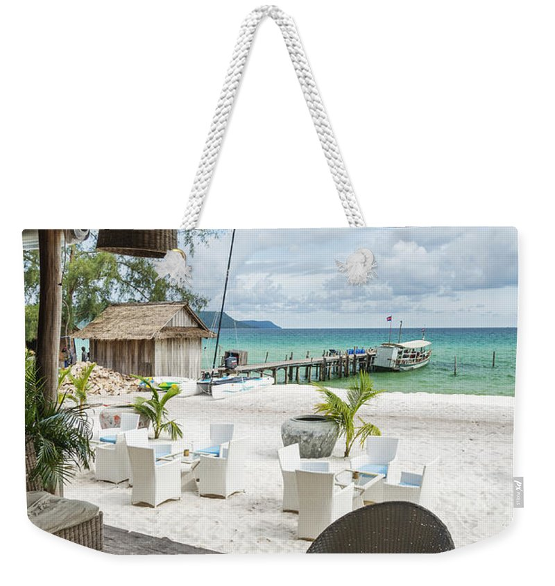 Asia Weekender Tote Bag featuring the photograph Beach Bar In Sok San Area Of Koh Rong Island Cambodia by Jacek Malipan