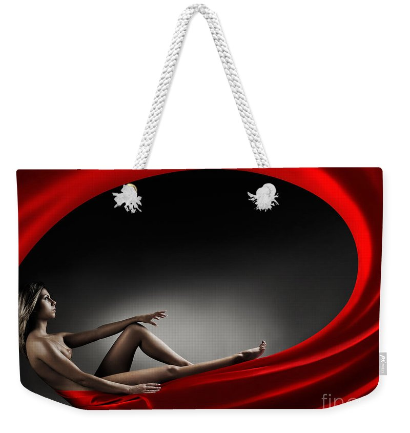 Woman Weekender Tote Bag featuring the photograph Beautiful Woman In A Whirl Of Power by Maxim Images Prints