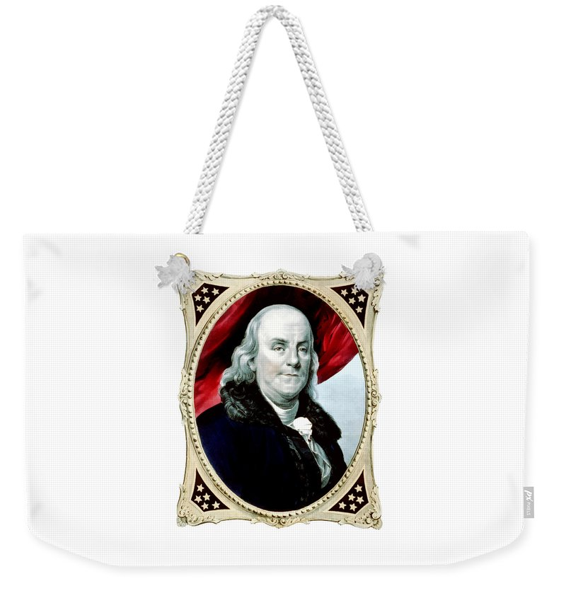 Benjamin Franklin Weekender Tote Bag featuring the painting Ben Franklin - Two by War Is Hell Store