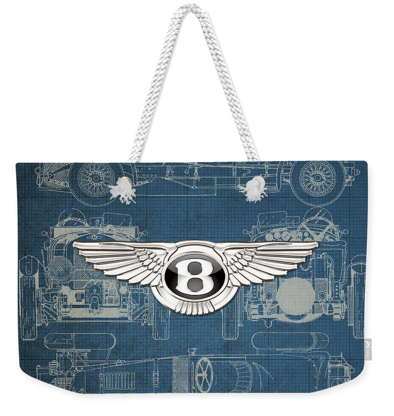 �wheels Of Fortune� By Serge Averbukh Weekender Tote Bag featuring the photograph Bentley - 3 D Badge Over 1930 Bentley 4.5 Liter Blower Vintage Blueprint 1 by Serge Averbukh
