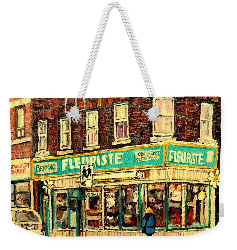Bernard Flowers Weekender Tote Bag featuring the painting Bernard Florist by Carole Spandau