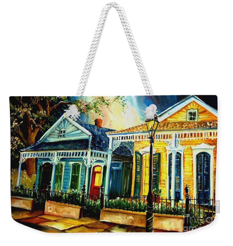 New Orleans Weekender Tote Bag featuring the painting Big Easy Neighborhood by Diane Millsap