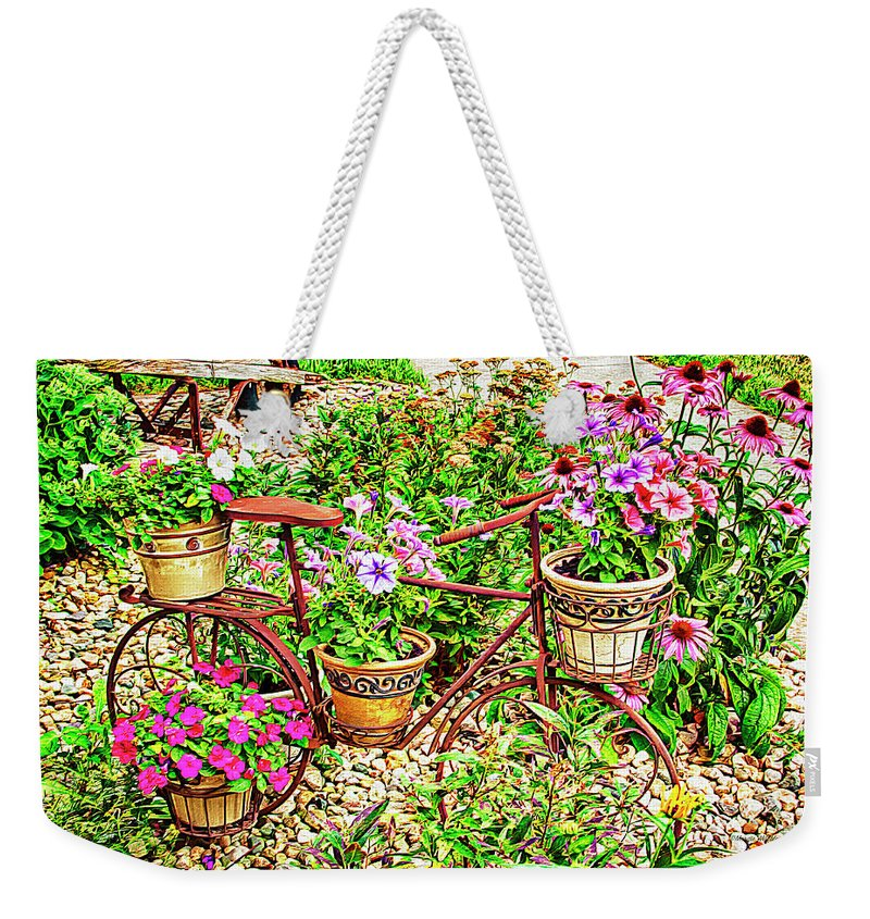 Garden Weekender Tote Bag featuring the photograph Bike Blossoms by Margie Wildblood