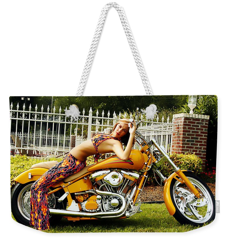 Clay Weekender Tote Bag featuring the photograph Bikes And Babes by Clayton Bruster