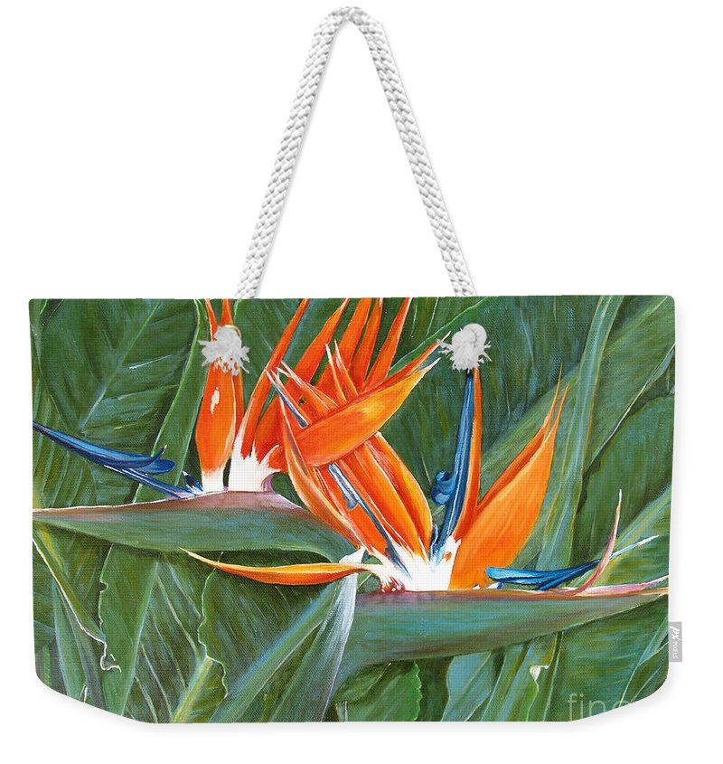 Floral Weekender Tote Bag featuring the painting Birds Of Paradise by Larry Geyrozaga