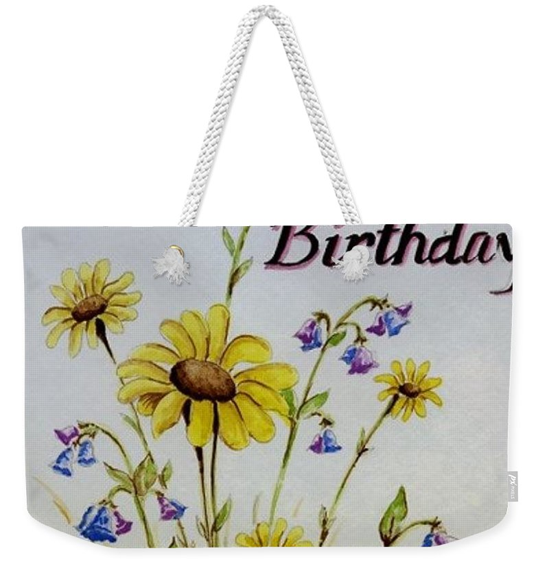 Card Weekender Tote Bag featuring the painting Birthday Card by Jimmy Smith
