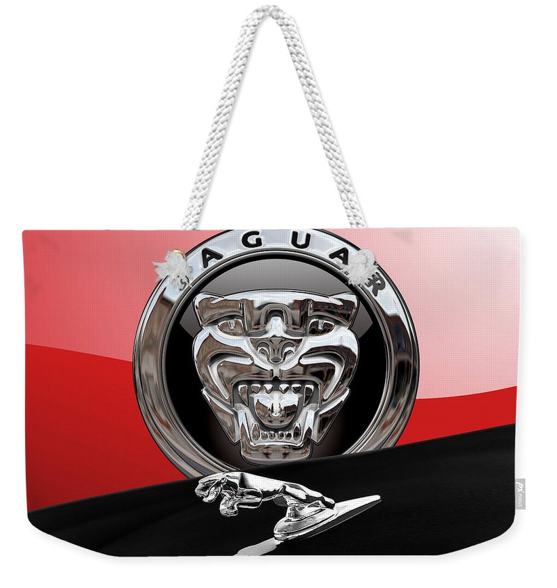 'auto Badges' Collection By Serge Averbukh Weekender Tote Bag featuring the photograph Black Jaguar - Hood Ornaments And 3 D Badge On Red by Serge Averbukh
