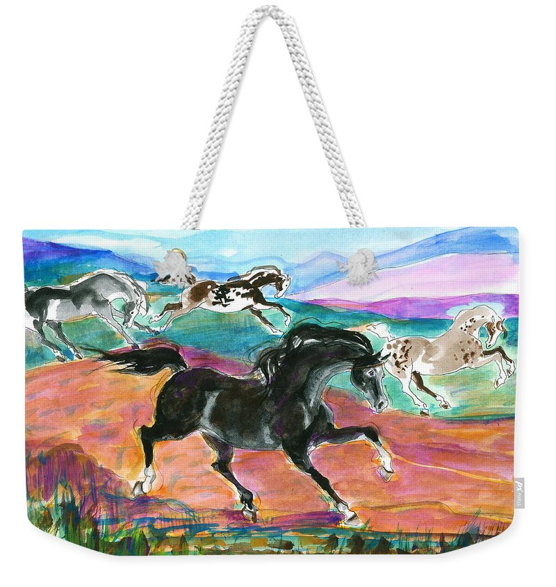 Mary Ogden Armstrong Weekender Tote Bag featuring the painting Black Pony by Mary Armstrong
