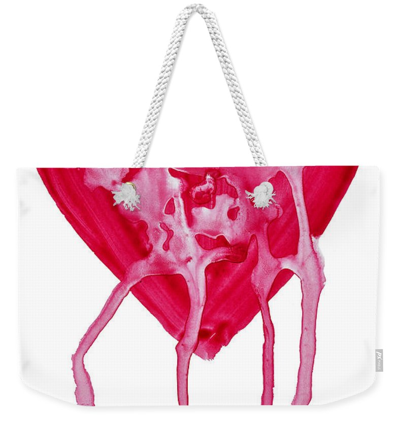 Valentine's Day Weekender Tote Bag featuring the painting Bleeding Heart by Michal Boubin