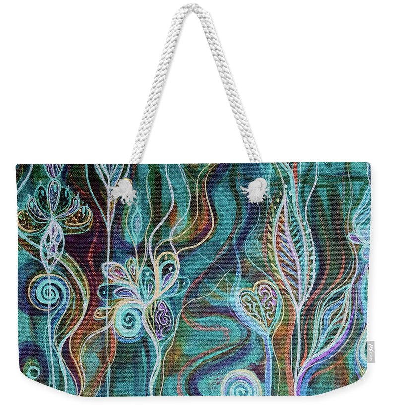 Intuitive Art Weekender Tote Bag featuring the painting Bling Bling by Angel Fritz
